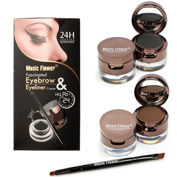 Music flower 4 in 1 Brown + Black Gel Eyeliner With Brush Makeup Eyebrow Kit Powder Waterproof Cosmetics Set Free Shipping