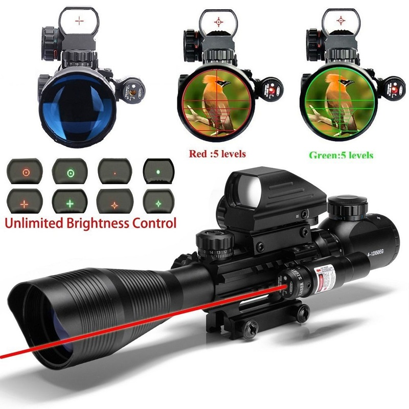 Tactical 4 12X50 EG Riflescope Airsoft Weapon Hunting Firearm Gun Riflescope With Holographic 4 Reticle Sight