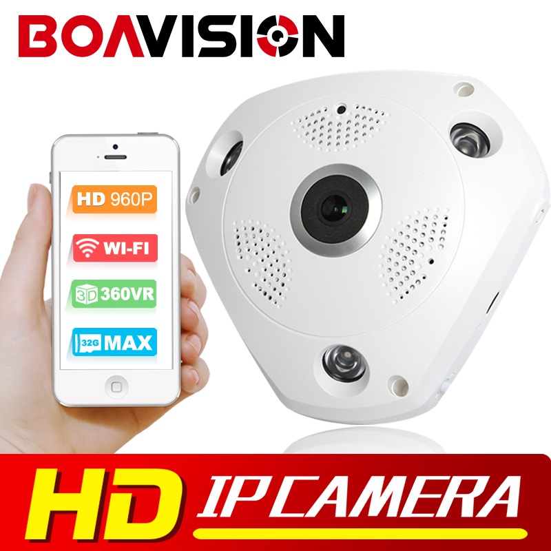 ФОТО 1.3MP 3D VR Cam WIFI IP Camera 960P Fisheye Lens SD Card Slot HD Panorama Cameras IR Night Vision CCTV Security Camera BOAVISION