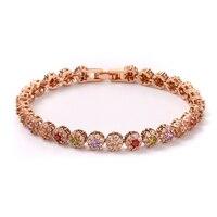 FYM Fashion Boho Rose Gold Color Flower Shape Bracelet Femme AAA Zircon Crystal Bracelet CZ Bracelets