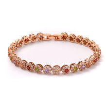 FYM fashion boho Rose Gold Color flower shape Bracelet femme AAA Zircon Crystal Bracelet CZ Bracelets for Women Wedding party fym fashion rose gold color flower shape women bracelet aaa zircon crystal bracelet femme bracelets for women wedding party