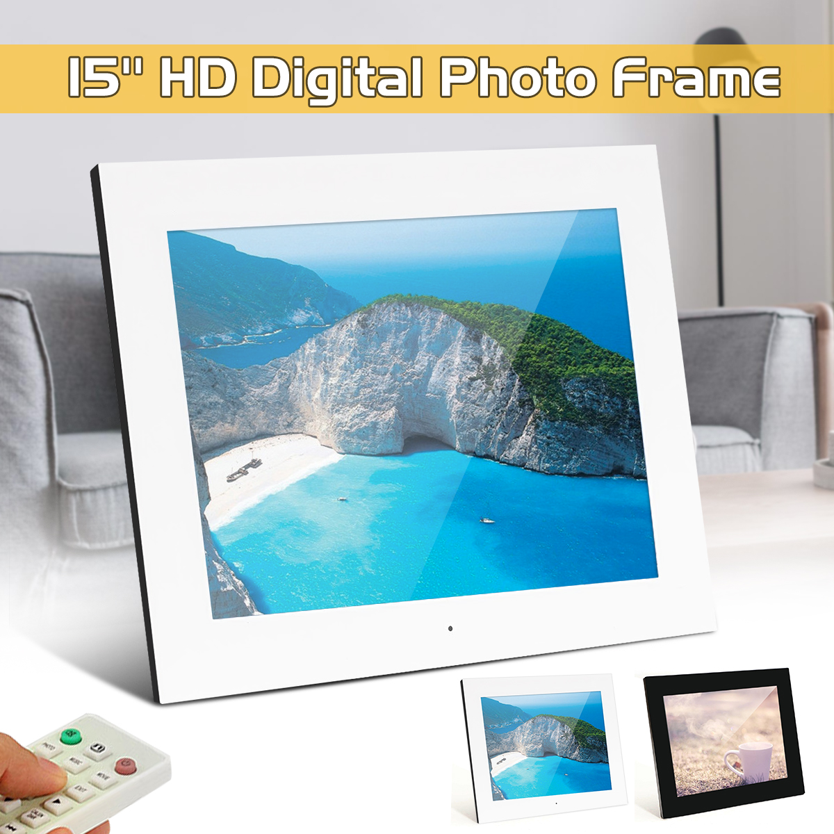 15 inch LCD Screen HD Digital Photo Frame Slideshow Picture Frame Video MP3 Player Music Speaker SD Card Reader Alarm Clock digital video player 7inch hd lcd digital photo frame with alarm clock slideshow mp4 player bk media player with screen tw