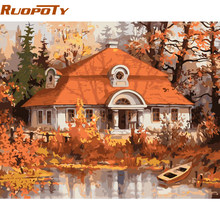 RUOPOTY Frame Village Autumn DIY Painting By Numbers Modern Acrylic Paint On Canvas Painting For Home Wall Art Decor 40x50cm(China)