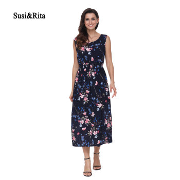 Susi&Rita Elegant Long Beach Dress Women Summer Floral Bohemian Dresses 2018 Casual Sleeveless Cotton Dress Vestidos Robe Femme Платье