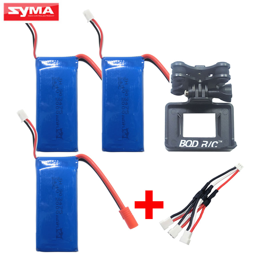 Syma 2000mAh lithium battery For X8W X8C X8G X8HW X8HG X8HC RC Helicopter Spare Parts Charger + Gimbal Quadcopter Accessories four axis aircraft lithium battery accessories for udi u842 u842 1 u818s helicopter 3pcs battery and 6 in 1 charger