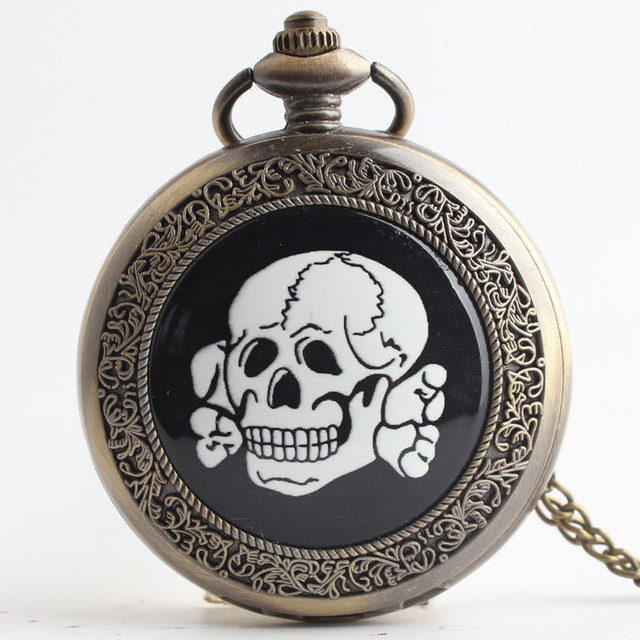 Wholesale Black White Skull Retro Large Pocket Watch Necklace Vintage Bronze Pen