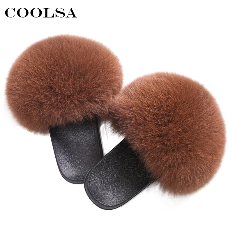 Coolsa Luxo Sandálias Das Mulheres Reais Fox Fur Fox Fur Cabelo Lâminas De Borracha Plana Não-deslizamento Ocasional Em Casa Chinelo Macio senhora Sapatos de Tamanho Grande