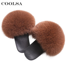 Coolsa Luxury Women Real Fox Fur Sandals Fox Hair Fur Slides Rubber Flat Non-slip Casual Home Slipper Soft Lady Large Size Shoes(China)