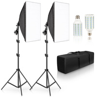 Photography Softbox Lighting Kits 50x70CM Camera Accessories Light System With 2pcs Photographic LED Bulbs For Photo Studio