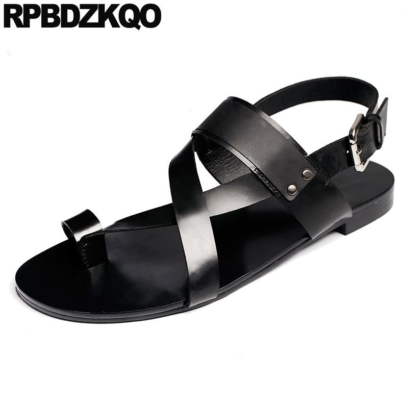 Native Shoes Designer Casual High Quality Men Gladiator Sandals Summer Strap Flat Roman Genuine Leather Toe Loop Soft 2019 Black