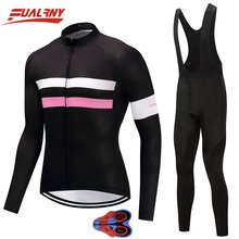 2019 Team FUALRNY Long sleeve Ropa Ciclismo Cycling Jersey set 9D gel/Autumn Bicycle/MTB Bike Clothes For Man Chest fluorescence