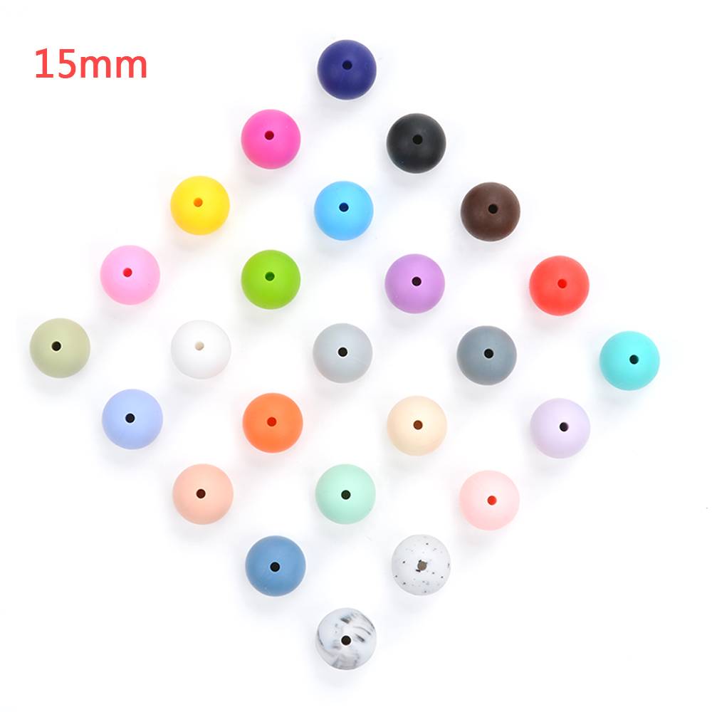 100pieces/lot Silicone Beads Baby Teething Beads 15mm Safe Food Grade Nursing Chewing Round Silicone Beads