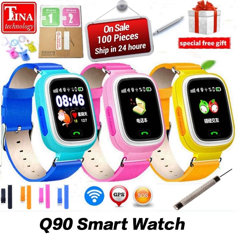 Neue Ankunft Q90 GPS Telefon Positionierung Mode Kinder Uhr 1,22 zoll Farbe Touch Screen WIFI SOS Smart Uhr PK Q80 q50 Q60