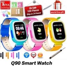 Новое поступление Q90 gps телефон позиционирования Мода Дети часы 1,22 дюймов Цвет Сенсорный экран WI-FI SOS Смарт-часы PK Q80 Q50 Q60