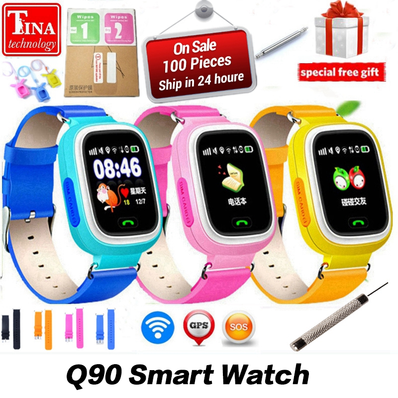 Nueva llegada Q90 GPS teléfono posicionamiento moda niños reloj 1,22 pulgadas Color pantalla táctil WIFI SOS reloj inteligente PK Q80 q50 Q60