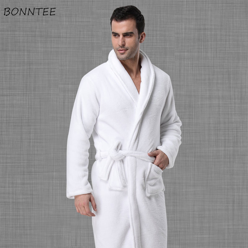 Robes Men Solid Winter Thicker Warm Soft Pockets Leisure Long Sleeve Home Clothing Mens Coral Fleece Bathrobe European Style(China)