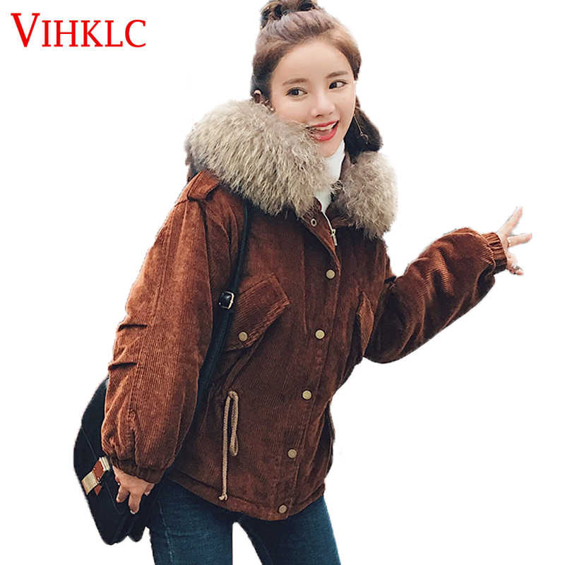 3393e6526a9 2017 Winter Women Parka Fashion Big Fur Collar Warm Jacket Short Cotton  Padded Jacket Thick Outwear