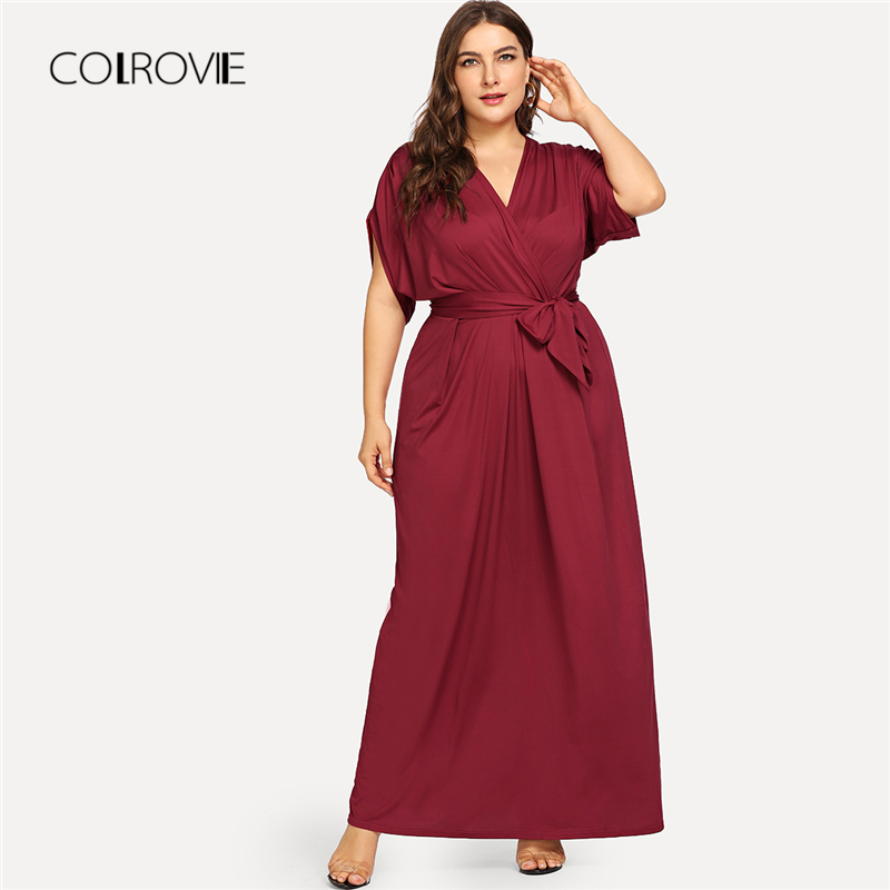 COLROVIE Plus Size Burgundy V neck Belted Self Tie Maxi Dress Women 2018  New Autumn Solid 65d93e754926