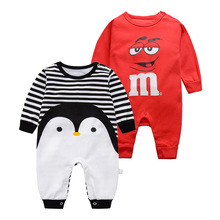 2018 Baby Animal Pagliaccetti Tuta bambini Prodotto Primavera Estate Baby Cartoon Pinguino Style Clothes 100% Cotton Baby Boy Girl Cloth