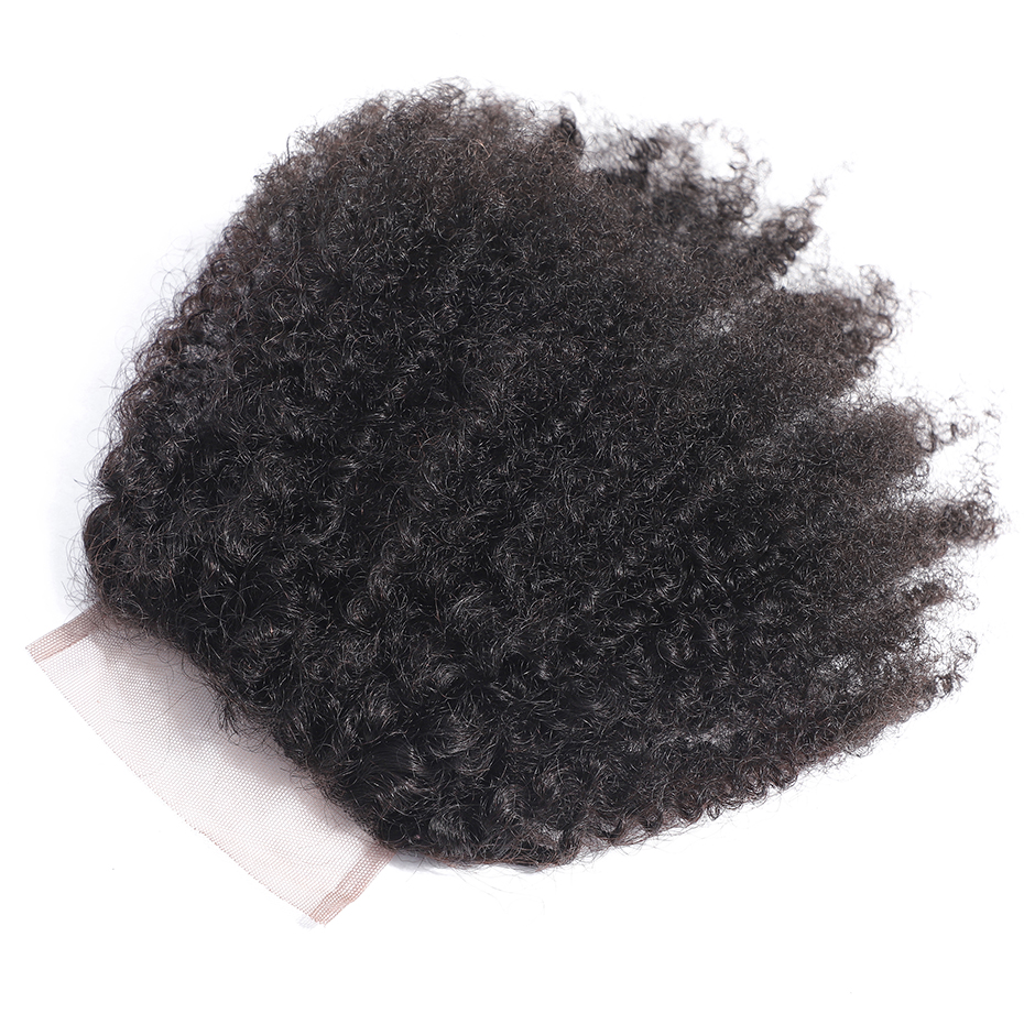 Image 4 - Gabrielle Hair Closure Afro Kinky Curly Natural Color 10 18inch Brazilian Human Hair Remy Hair Weave 4*4 Free Part Lace Closure-in Closures from Hair Extensions & Wigs