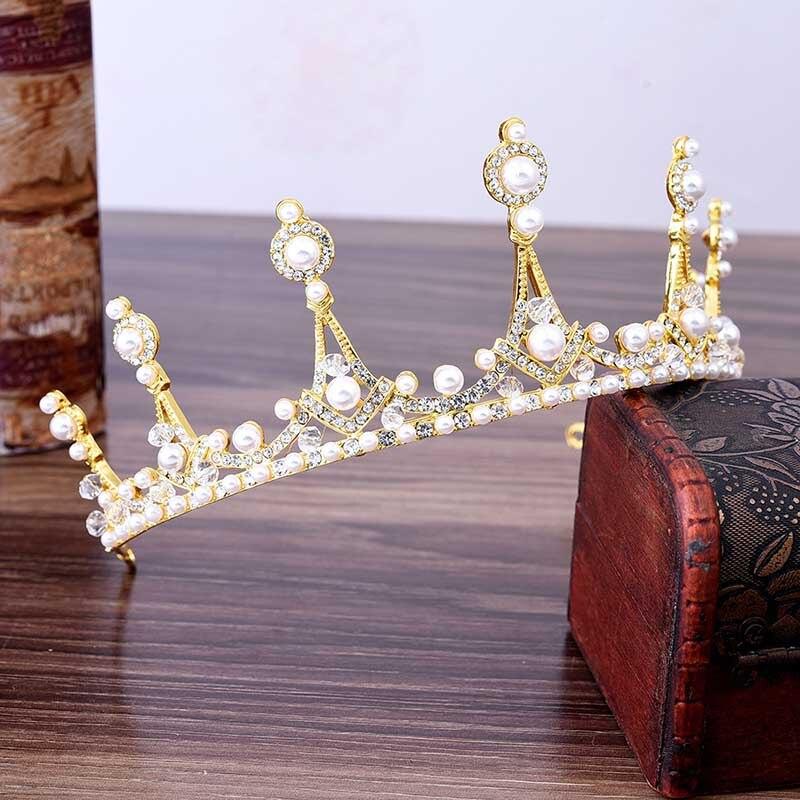Silver Metal Tiara and Crown Rhinestone Noiva Pearl Queen Diadem Bride Coronal Headpiece Wedding Hair Jewelry Accessories   LB