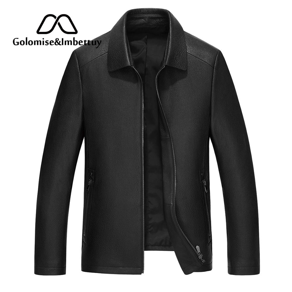 Golomise&Imbettuy Fashion Real&Genuine Cow Leather Jacket/Coat Overcoat