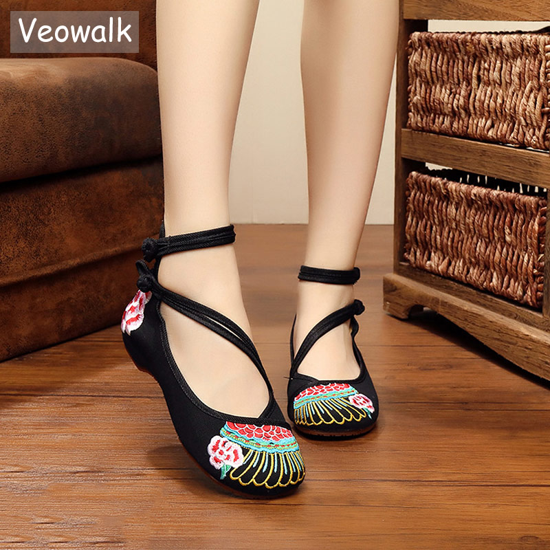 Veowalk Handmade Traditional Embroidered Women Chinese Canvas Ballet Flats Ankle Strap High Top Ladies Casual Embroidery Shoes c type sewing machine style music box brown black