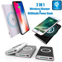 Portable External USB Power Bank 8000mAh & Wireless Charger 2 in 1 For Iphone X CE\FCC\RoHS Certificated drop shipping 1115