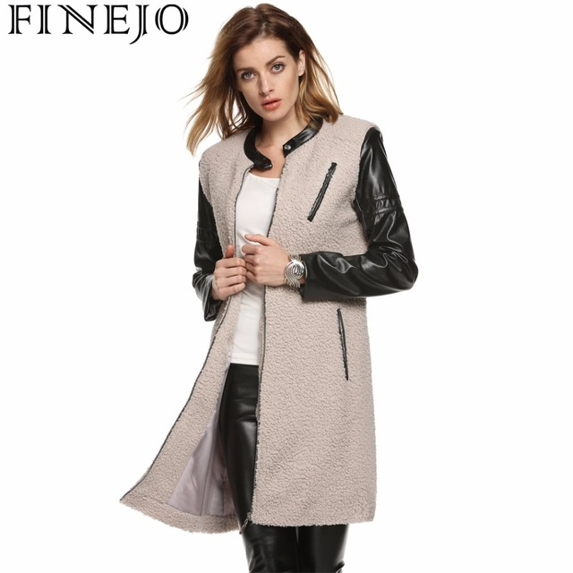 finejo 2017 fashion elegant women long coat winter leather