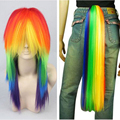 My Little Pony Rainbow Dash Cosplay Wig Tail Ponytail Multi Color Synthetic Party Wig Tail Cosplay Convention Event Wigs
