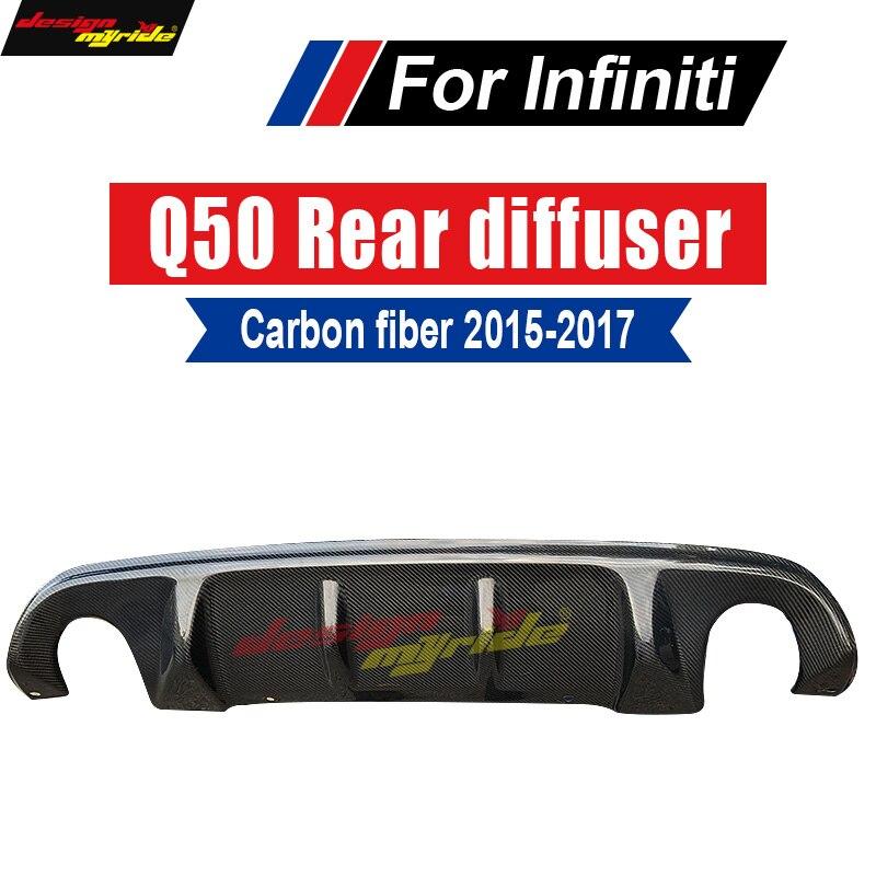 Carbon fiber car rear lip Spoiler diffuser For infiniti Q50 rear diffuser S Style Tail Bumper Lip Diffuser Spoiler 2015 2017 in Bumpers from Automobiles Motorcycles