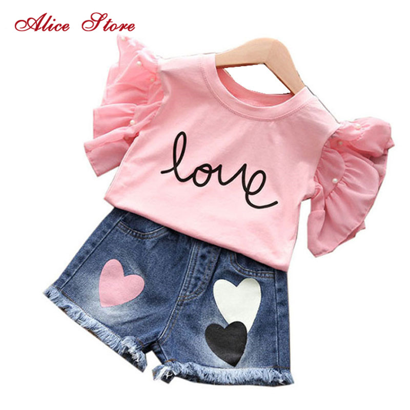 Alice summer hot style 2018 children jeans + t-shirts, children's wear two-piece han edition of the new children's shorts 1