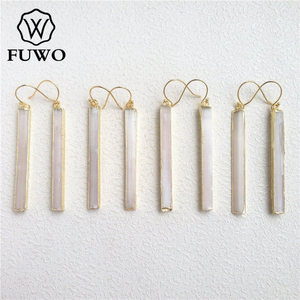 Image 3 - Fuwo brincos de selenite natural 24k, joias elegantes com lâmina de cristal, prato de ouro, selenite