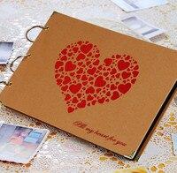 Envío libre 10 pulgadas de gran tamaño DIY hecho a mano álbum de fotos tarjeta de negro tipo pasta de álbum de fotos personalizado de la boda del amante regalo