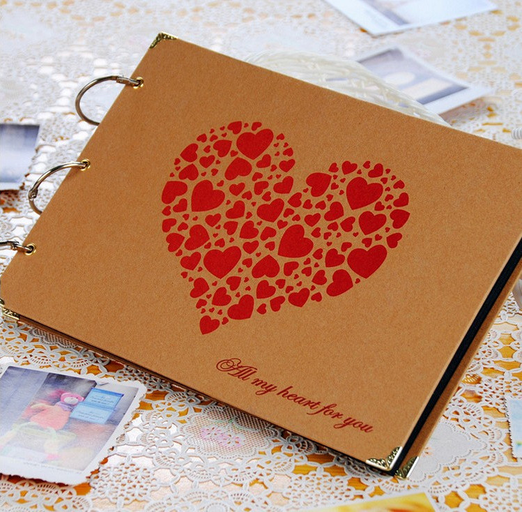Free Shipping 10 Inch DIY Big Size Handmade Photo Album Black Card Paste Type Personalized Wedding Lovers Gift In Albums From Home