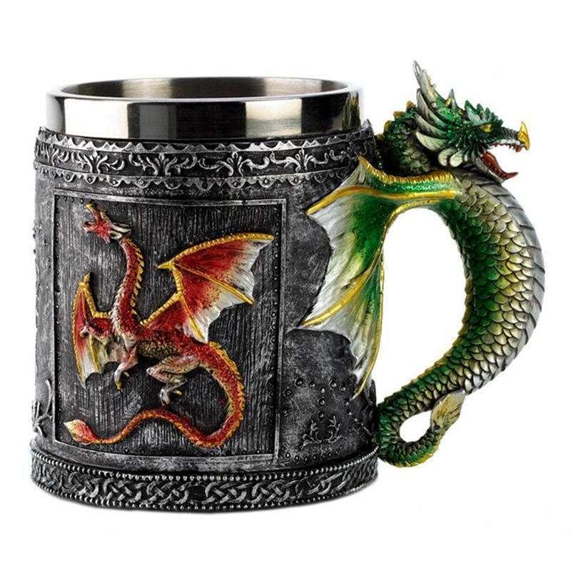 Dvojna stena iz nerjavečega jekla 3D lobanjski vrči Fly Dragon Pitna skodelica skodelice za domačo pisarno Miza Dekor Geek kava skodelica božično darilo