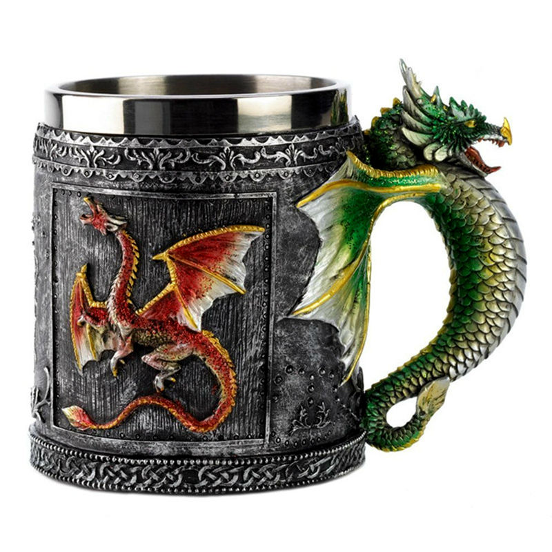 Double Wall Stainless Steel 3d Skull Mugs Fly Dragon Drinking Mug Cup Home Office Table Decor