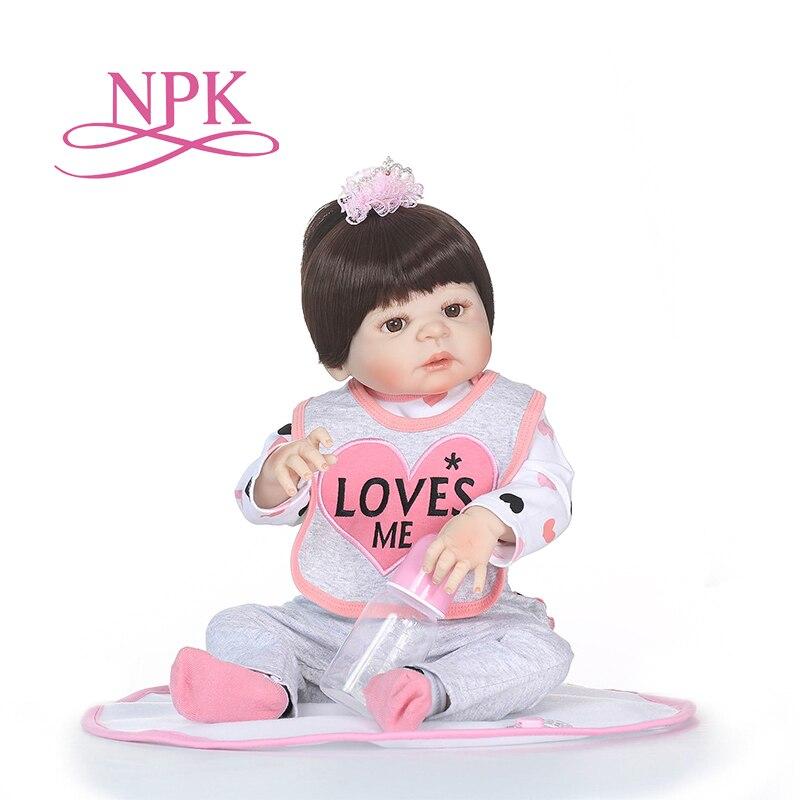 NPK 55cm full body Silicone reborn Baby Doll Girl Lifelike Baby-Reborn pink Princess Doll Birthday Christmas Gift for girl