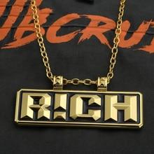 Golden RICH Letters Tag Pendant Necklace Long Cuban Link Chain Crystal Mens Hip Hop ChinaPendant Fashion Punk Jewelry