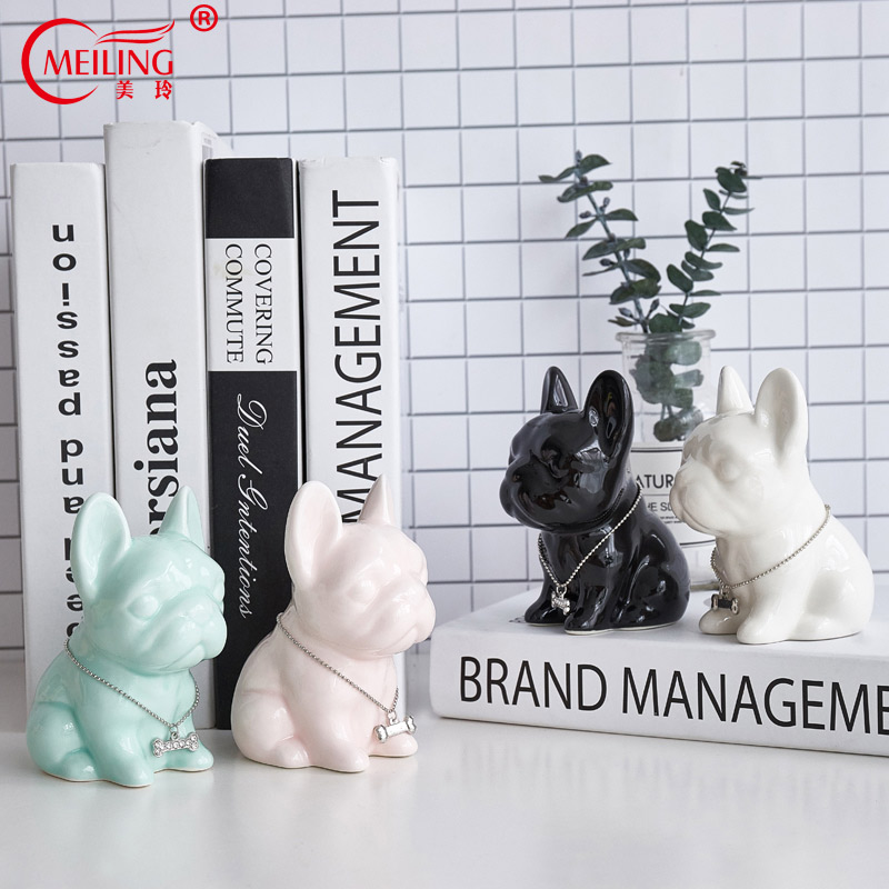 Collectible Ceramic French Bulldog Figurine Decoration Living Room Home Vanity Bathroom Animal Ornament Funny Gift For Dog Lover