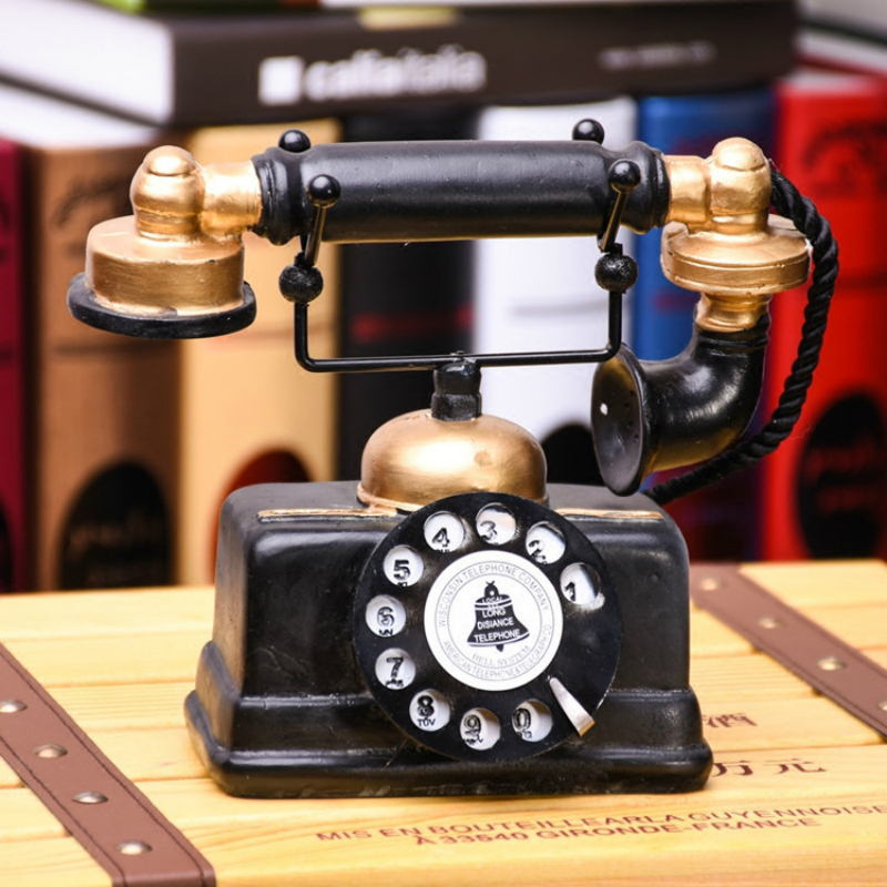 Retro Antique Telephone Ornament Cafe Shop Bar Window Display Decorative Props Old Things Vintage Desktop Rotate Dial Phone