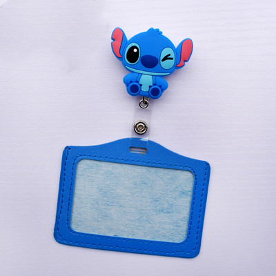 Cartoon Animals PU Leather Card Case With Retractable Badge Reel Pull Key ID Name Nurse Id Card Holder Badge Holder