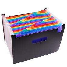 1 pces que expandem a carteira 33*23.5*3.5cm que expandem a pasta de arquivo 24 bolsos o armazenamento preto do documento do escritório da pasta do acordeão a4