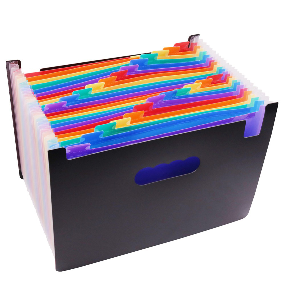 1 Pcs Expanding Wallet 33*23.5*3.5cm Expanding File Folder 24 Pockets Black Accordion A4 Folder Office Document Storage