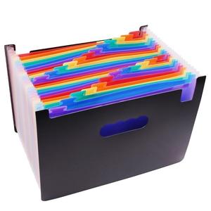 Image 1 - 1 pcs Expanding Wallet 33*23.5*3.5cm Expanding File Folder 24 Pockets Black Accordion A4 Folder Office Document Storage