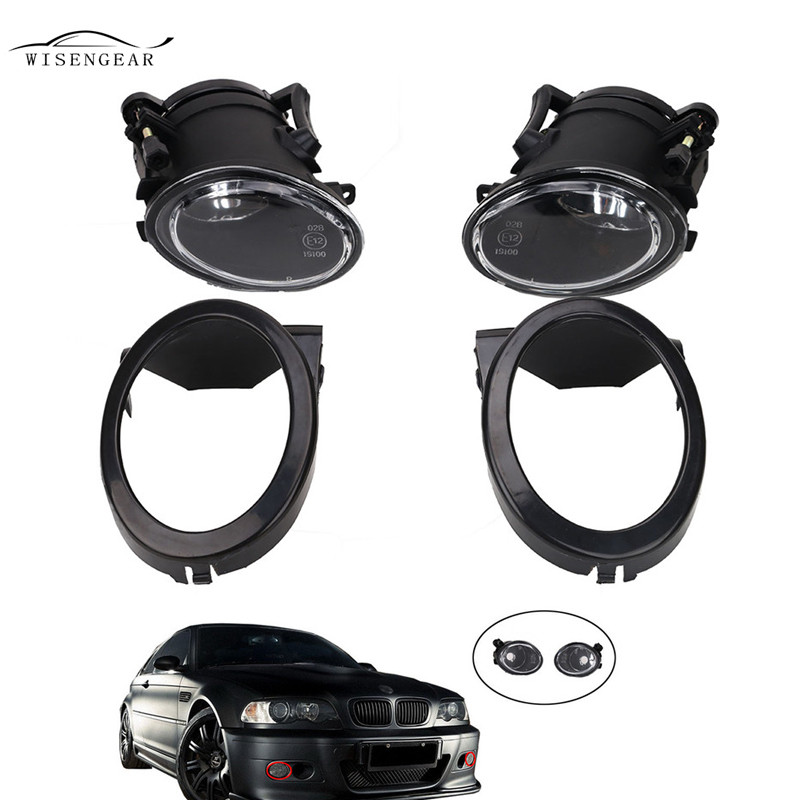 WISENGEAR Front Fog Driving Light Lamp With Primed Grill Trims Ring Cover For BMW E46 M3 2001 - 2006 631777894017 Car Styling high quality 1pair bumper driving fog light lamp lens for bmw e39 5 series 525i 530i 540i 4door 2001 2002 2003 car accessory q35