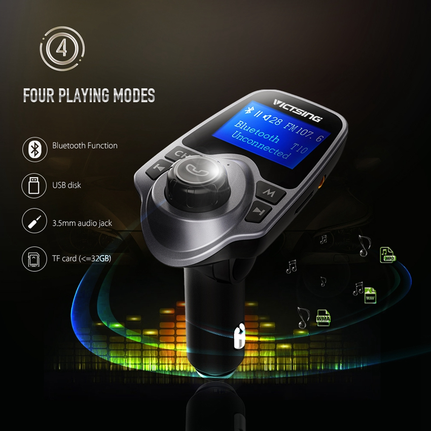 VicTsing Wireless Adapter Bluetooth FM Radio Music Transmitter + Phone Charger Car Kit w/ Display Support TF Card USB Car Audio