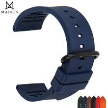 MAIKES New good quality watch accessories watchbands 22mm 24mm fluororubber bands black fluoro gum rubber strap