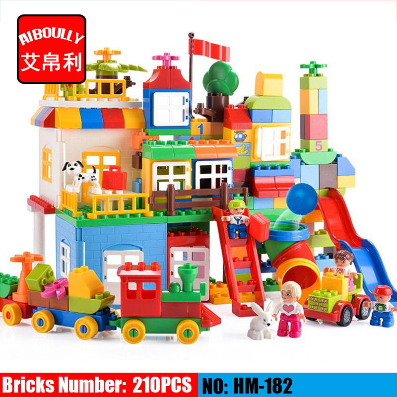 NEW HM182 210 PCS Big Building Blocks Children's Playground Blocks Toys Educational Toys for Children Compatible with DUPLOE 60 pcs children wooden marbles building blocks kids ball cube evolution blocks with english instruction for educational toys