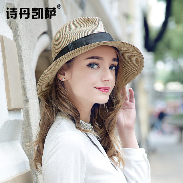 2016 New Lady Sun Hat Summer Straw Hat Women Folded Wide Brim Sun Cap Elegant Travelling Hat New Headwear B-1985